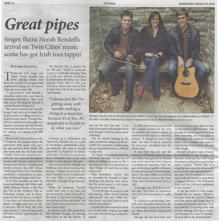 Highland Villager Article Saint Paul March 10, 2010